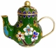 Chinese Cloisonne Teapot - Flowers #19