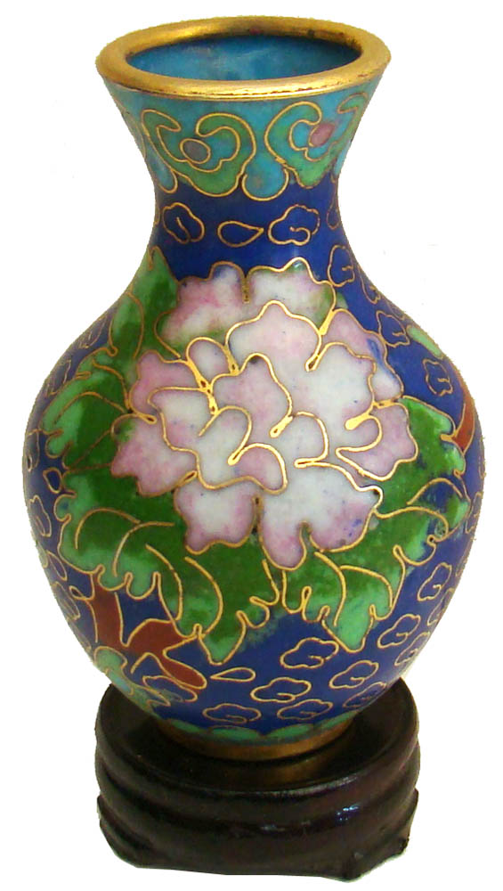 Miniature Chinese Cloisonne Vase Wealth Flowers Chinese Vases
