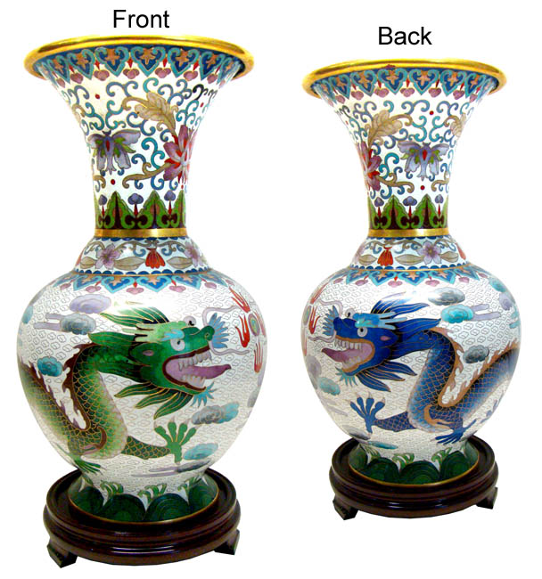 Chinese Cloisonne Vase Twin Dragons Chinese Vases Oriental Vases
