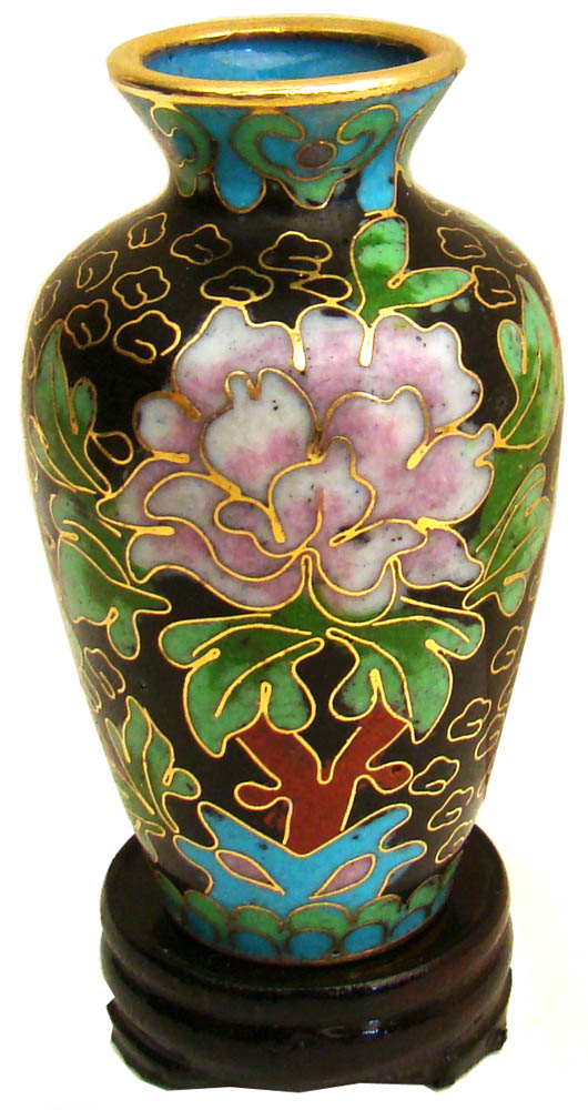 Miniature Chinese Cloisonne Vase Wealth Flowers Traditional