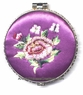 Chinese Compact Mirror - Embroidered Flowers #26
