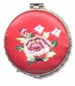 Chinese Compact Mirror - Embroidered Flowers #31