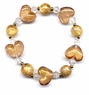 Chinese Glass Bead Bracelet - Heart  #127