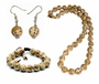 Chinese Jewelry Set - Porcelain Bead Jewelry - Necklace, Bracelet & Earrings #6