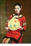 Chinese Oil Painting - Maiden Holding Fan #44