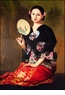 Chinese Oil Painting - Maiden Holding Fan #55