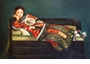 Chinese Oil Painting - Maiden with Fan #22