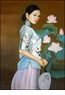 Chinese Oil Painting - Maiden with Fan #41
