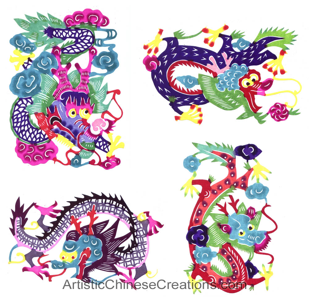 Dragon /& Phoenix Chinese Gifts Good Fortune Chinese Wall Scroll Chinese Paper Cuts