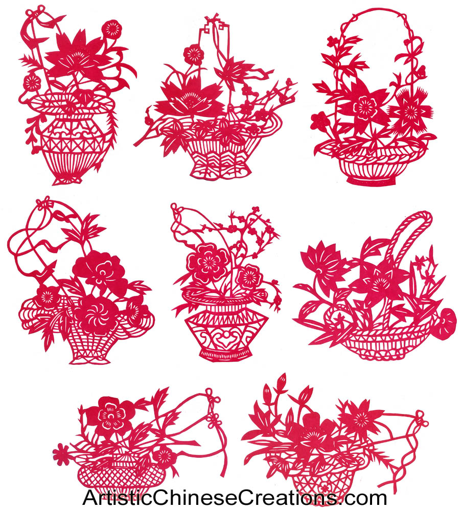 Chinese Paper Cuts Flowers Set Of 8 Chinese Crafts Hand Cut