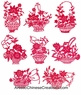 Chinese Paper Cuts - Flowers (Set of 8) #346
