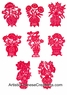 Chinese Paper Cuts - Flowers in Vase (Set of 8) #57
