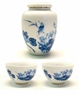 Chinese Porcelain Tea Canister with Cups - Bird & Lotus #11