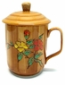Chinese Ceramic Tea Mug (with Lid) - Flowers (Rich Woodlike Finish) #17