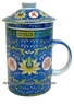 Chinese Porcelain Tea Cup (with Lid & Removable Strainer) - Wealth & Longevity #22