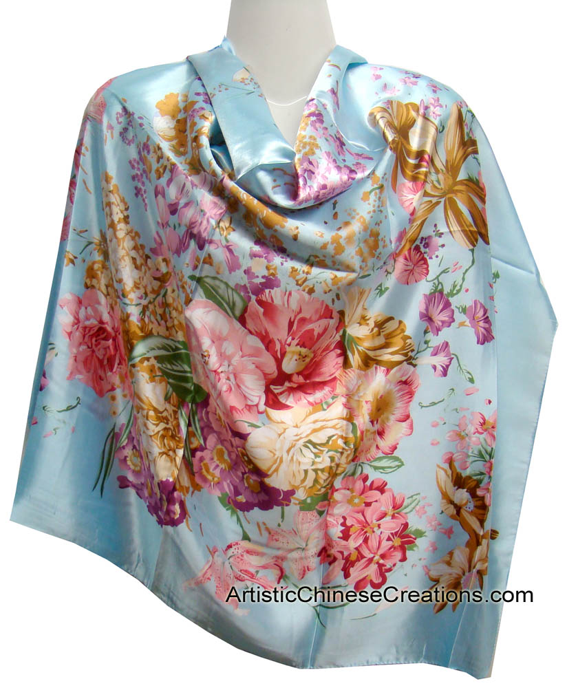 Chinese Silk Scarf Flowers Chinese Gifts For Women Asian Scarves