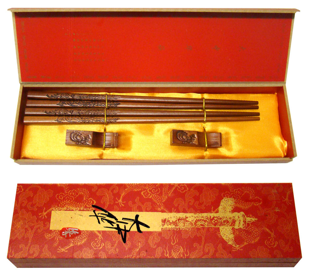Set of 2 Pairs of Chop Sticks in Decorative Wooden Box New