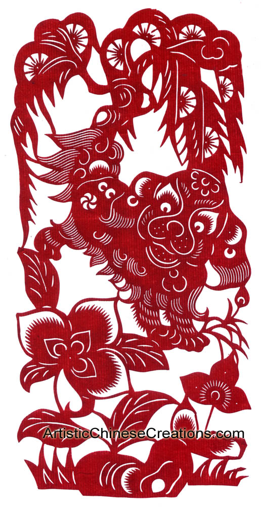 Chinese Zodiac Paper Cuts Dog Chinese Rooster Symbol Chinese