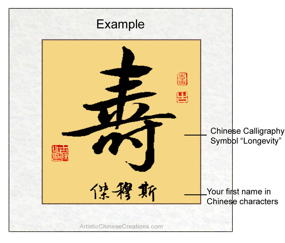 Customized Chinese Calligraphy Longevity Symbol Chinese Name