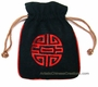 Embroidered Chinese Draw String Pouch - Good Fortune #1