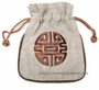 Embroidered Chinese Draw String Pouch - Good Fortune #2
