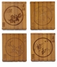 Engraved Chinese Bamboo Coasters - Four Flowers (Set of 4) #28