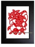 Framed Chinese Paper Cuts - Zodiac Symbol / Monkey #22