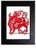 Framed Chinese Paper Cuts - Zodiac Symbol / Ox #24