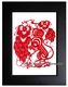 Framed Chinese Paper Cuts - Zodiac Symbol / Rat #13