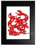Framed Chinese Paper Cuts - Zodiac Symbol / Snake #20