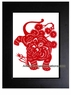 Framed Chinese Paper Cuts - Zodiac Symbol / Tiger #19