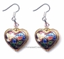 Heart Shaped Chinese Earrings - Flowers (Pair) #42