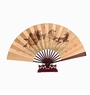 Chinese Silk Folding Fan with Stand - Horses #218