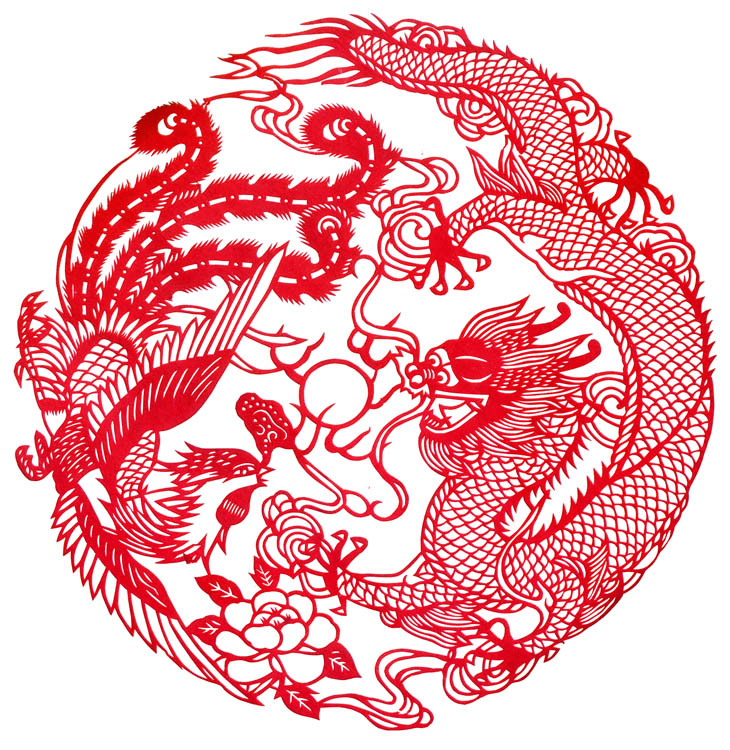 Chinese paper cuts dragon phoenix chinese dragon art for Chinese paper cutting templates dragon