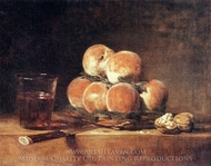 A Basket of Peaches painting reproduction, Jean Simeon Chardin