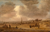 A Beach with Fishing Boats painting reproduction, Jan Van Goyen