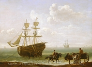 A Beached Collier Unloading into Carts painting reproduction, Julius Caesar Ibbetson
