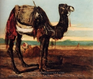 A Bedouin and a Camel Resting In A Desert Landscape painting reproduction, Alexandre Gabriel Decamps