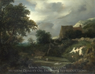 A Bleaching Ground in a Hollow by a Cottage painting reproduction, Jacob Van Ruisdael