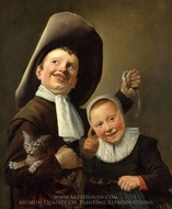 A Boy and a Girl with a Cat and an Eel painting reproduction, Judith Leyster
