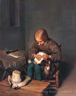 A Boy Defleaing a Dog painting reproduction, Gerard Ter Borch