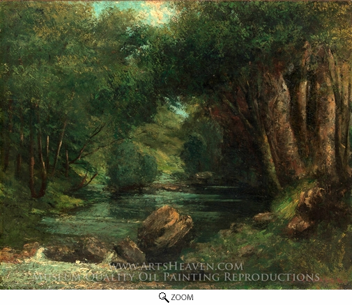 Gustave Courbet, A Brook in the Forest oil painting reproduction