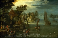 A Busy River Scene with Dutch Vessels and a Ferry painting reproduction, Jan Brueghel