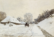 A Cart on the Snowy Road at Honfleur painting reproduction, Claude Monet