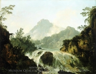 A Cascade in the Tuaruru Valley, Tahiti painting reproduction, William Hodges