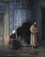 A Chat by the Fireside painting reproduction, Jean-Leon Gerome
