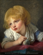 A Child with an Apple painting reproduction, Jean Baptiste Greuze