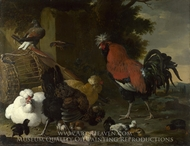 A Cock, Hens and Chicks painting reproduction, Melchior D'Hondecoeter