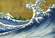 A Colored Version of the Big Wave painting reproduction, Katsushika Hokusai