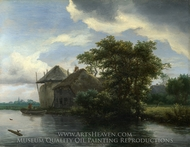 A Cottage and a Haybrick by a River painting reproduction, Jacob Van Ruisdael